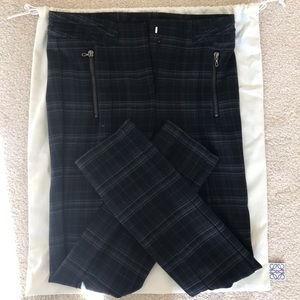 Zara Plaid navy blue pants